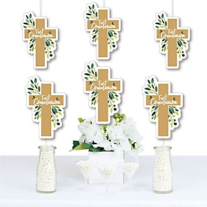First Communion Elegant Cross - Decorations DIY Religious Party Essentials - Set of 20