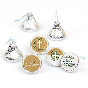 First Communion Elegant Cross - Religious Party Round Candy Sticker Favors - Labels Fit Hershey's Kisses - 108 ct