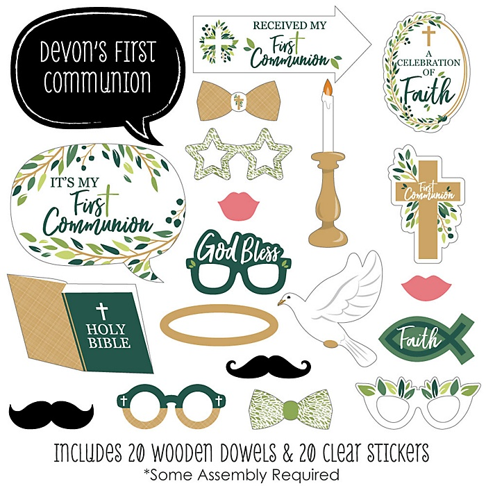 First Communion Elegant Cross - 20 Piece Religious Party Photo Booth Props Kit