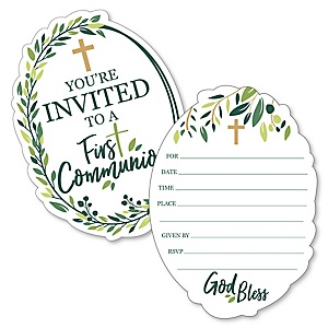 First Communion Elegant Cross - Shaped Fill-In Invitations - Religious Party Invitation Cards with Envelopes - Set of 12