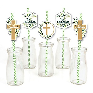 First Communion Elegant Cross - Paper Straw Decor - Religious Party Striped Decorative Straws - Set of 24