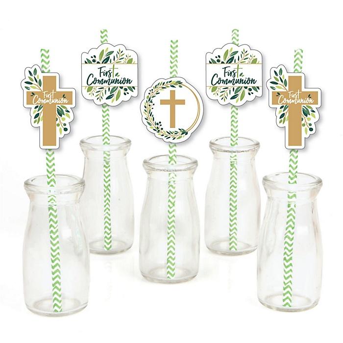 First Communion Elegant Cross - Paper Straw Decor - Religious Party Striped Decorative Straws - Set of 24