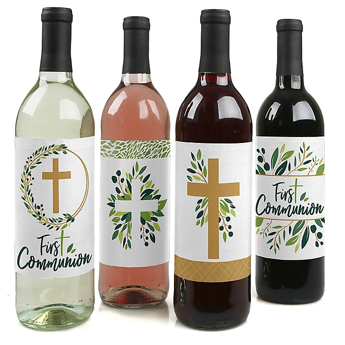 First Communion Elegant Cross - Religious Party Decorations for Women and Men - Wine Bottle Label Stickers - Set of 4