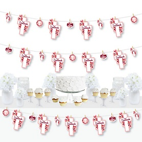First Communion Pink Elegant Cross - Girl Religious Party DIY Decorations - Clothespin Garland Banner - 44 Pieces