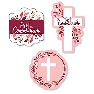 First Communion Pink Elegant Cross - DIY Shaped Girl Religious Party Cut-Outs - 24 ct