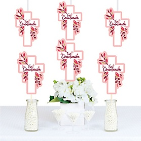 First Communion Pink Elegant Cross - Decorations DIY Girl Religious Party Essentials - Set of 20