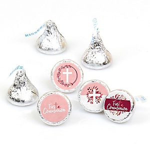 First Communion Pink Elegant Cross - Girl Religious Party Round Candy Sticker Favors - Labels Fit Hershey's Kisses  - 108 ct