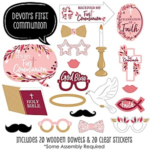 First Communion Pink Elegant Cross - 20 Piece Girl Religious Party Photo Booth Props Kit