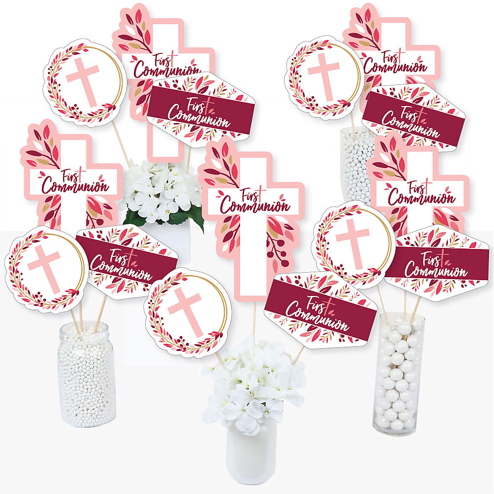 First Communion Pink Elegant Cross Girl Religious Party Centerpiece Sticks Table Toppers Set Of 15
