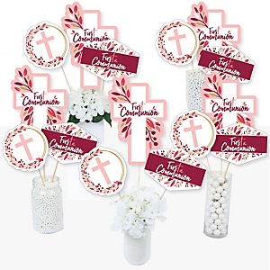 First Communion Pink Elegant Cross - Girl Religious Party Centerpiece Sticks - Table Toppers - Set of 15