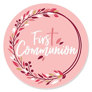 First Communion Pink Elegant Cross - Religious Party Theme