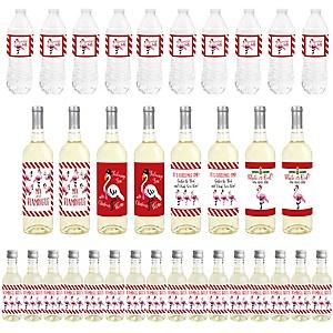 Flamingle Bells - Mini Wine Bottle Labels, Wine Bottle Labels and Water Bottle Labels - Tropical Christmas Party Decorations - Beverage Bar Kit - 34 Pieces