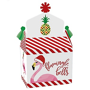 Flamingle Bells - Treat Box Party Favors - Tropical Christmas Party Goodie Gable Boxes - Set of 12