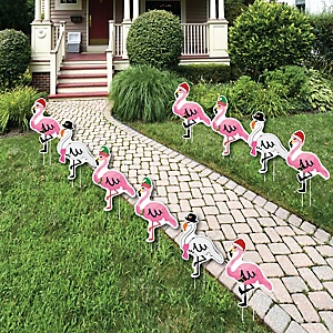 Flamingle Bells - Pink Flamingo Lawn Decorations - Outdoor Tropical Flamingo Christmas Yard Decorations - 10 Piece