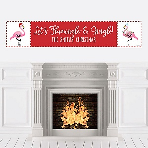 Flamingle Bells - Personalized Tropical Flamingo Christmas Party Banner