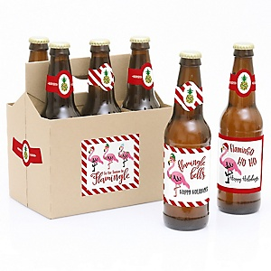 Flamingle Bells - Decorations for Women and Men - 6 Tropical Flamingo Christmas Beer Bottle Label Stickers and 1 Carrier