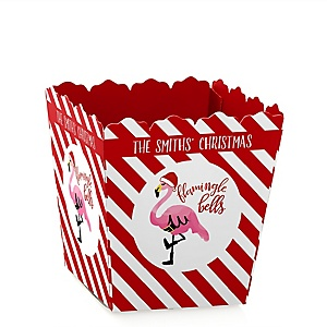 Flamingle Bells - Party Mini Favor Boxes - Personalized Tropical Flamingo Christmas Party Treat Candy Boxes - Set of 12