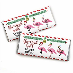 Flamingle Bells - Personalized Candy Bar Wrapper Tropical Flamingo Christmas Party Favors - Set of 24