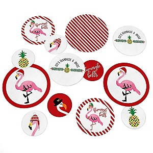 Flamingle Bells - Tropical Christmas Party Giant Circle Confetti - Flamingo Christmas Party Decorations - Large Confetti 27 Count