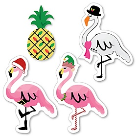 Flamingle Bells - DIY Shaped Tropical Flamingo Christmas Party Cut-Outs - 24 ct