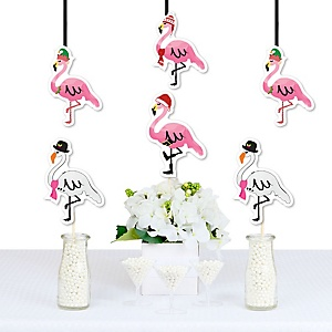 Flamingle Bells - Flamingo Decorations DIY Tropical Flamingo Christmas Party Essentials - Set of 20