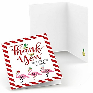 Flamingle Bells - Tropical Flamingo Christmas Party Thank You Cards  - 8 ct