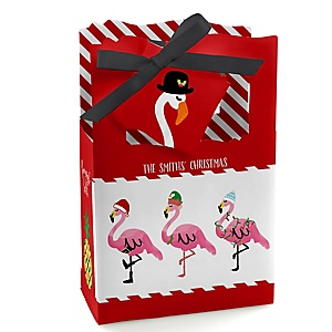 Flamingle Bells – Personalized Tropical Flamingo Christmas Party Favor Boxes - Set of 12 & Gift Bags - 12 Count