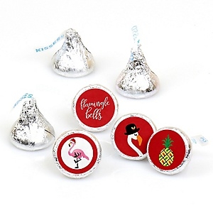 Flamingle Bells - Tropical Flamingo Christmas Party Round Candy Sticker Favors - Labels Fit Hershey's Kisses (1 sheet of 108)