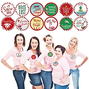 Flamingle Bells - Tropical Flamingo Christmas Party Funny Name Tags - Party Badges Sticker Set of 12