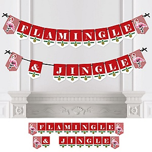 Flamingle Bells - Personalized Tropical Flamingo Christmas Party Bunting Banner & Decorations