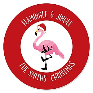 Flamingle Bells - Personalized Tropical Flamingo Christmas Party Sticker Labels - 24 ct