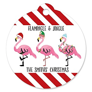 Flamingle Bells - Personalized Tropical Flamingo Christmas Party Favor Gift Tags - 20 ct