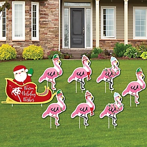 Flamingle Bells - Yard Sign & Outdoor Lawn Decorations - Tropical Flamingo Christmas Yard Signs - Set of 8