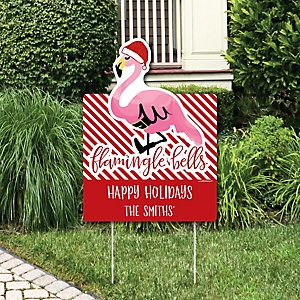 Flamingle Bells - Party Decorations - Tropical Flamingo Christmas Personalized Welcome Yard Sign