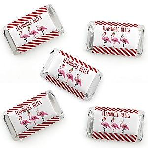 Flamingle Bells - Mini Candy Bar Wrapper Stickers - Tropical Christmas Party Small Favors - 40 Count