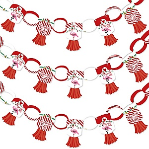 Flamingle Bells - 90 Chain Links and 30 Paper Tassels Decoration Kit - Tropical Christmas Party Paper Chains Garland - 21 feet