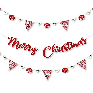 Flamingle Bells - Tropical Christmas Party Letter Banner Decoration - 36 Banner Cutouts and Merry Christmas Banner Letters