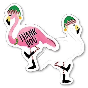 Flamingle Bells - Shaped Thank You Cards - Tropical Christmas Party Thank You Note Cards with Envelopes - Set of 12