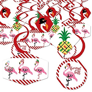 Flamingle Bells - Tropical Christmas Party Hanging Decor - Party Decoration Swirls - Set of 40