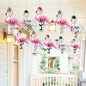Hanging Flamingle Bells - Outdoor Tropical Christmas Party Hanging Porch & Tree Yard Decorations - 10 Pieces