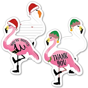 Flamingle Bells - 20 Shaped Fill-In Invitations and 20 Shaped Thank You Cards Kit - Tropical Christmas Party Stationery Kit - 40 Pack