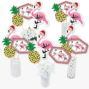 Flamingle Bells - Tropical Christmas Party Centerpiece Sticks - Table Toppers - Set of 15