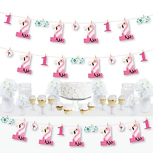 1st Birthday Pink Flamingo - First Birthday Party DIY Decorations - Clothespin Garland Banner - 44 Pieces