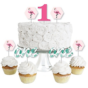 1st Birthday Flamingo - Party Like a Pineapple - Dessert Cupcake Toppers - First Birthday Party Clear Treat Picks - Set of 24
