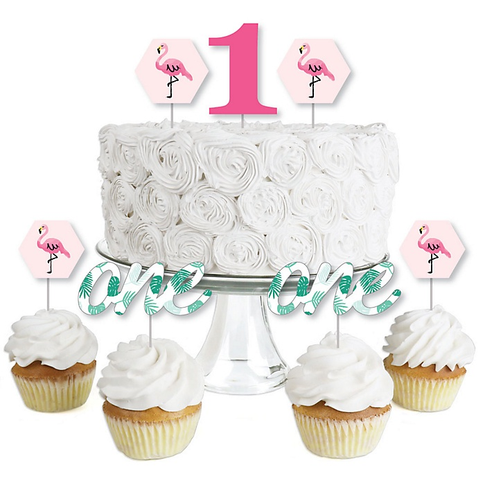 1st Birthday Pink Flamingo - Dessert Cupcake Toppers - Tropical First Birthday Party Clear Treat Picks - Set of 24