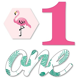 1st Birthday Pink Flamingo - DIY Shaped Tropical First Birthday Party Cut-Outs - 24 ct