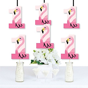 1st Birthday Pink Flamingo - One Shaped Decorations DIY Tropical First Birthday Party Essentials - Set of 20