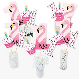 1st Birthday Pink Flamingo - Tropical First Birthday Party Centerpiece Sticks - Table Toppers - Set of 15