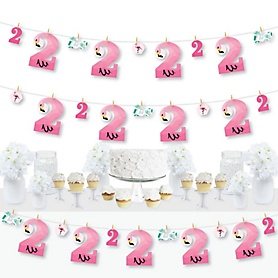 2nd Birthday Pink Flamingo - Second Birthday Party DIY Decorations - Clothespin Garland Banner - 44 Pieces