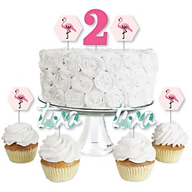 2nd Birthday Pink Flamingo - Dessert Cupcake Toppers - Tropical Second Birthday Party Clear Treat Picks - Set of 24